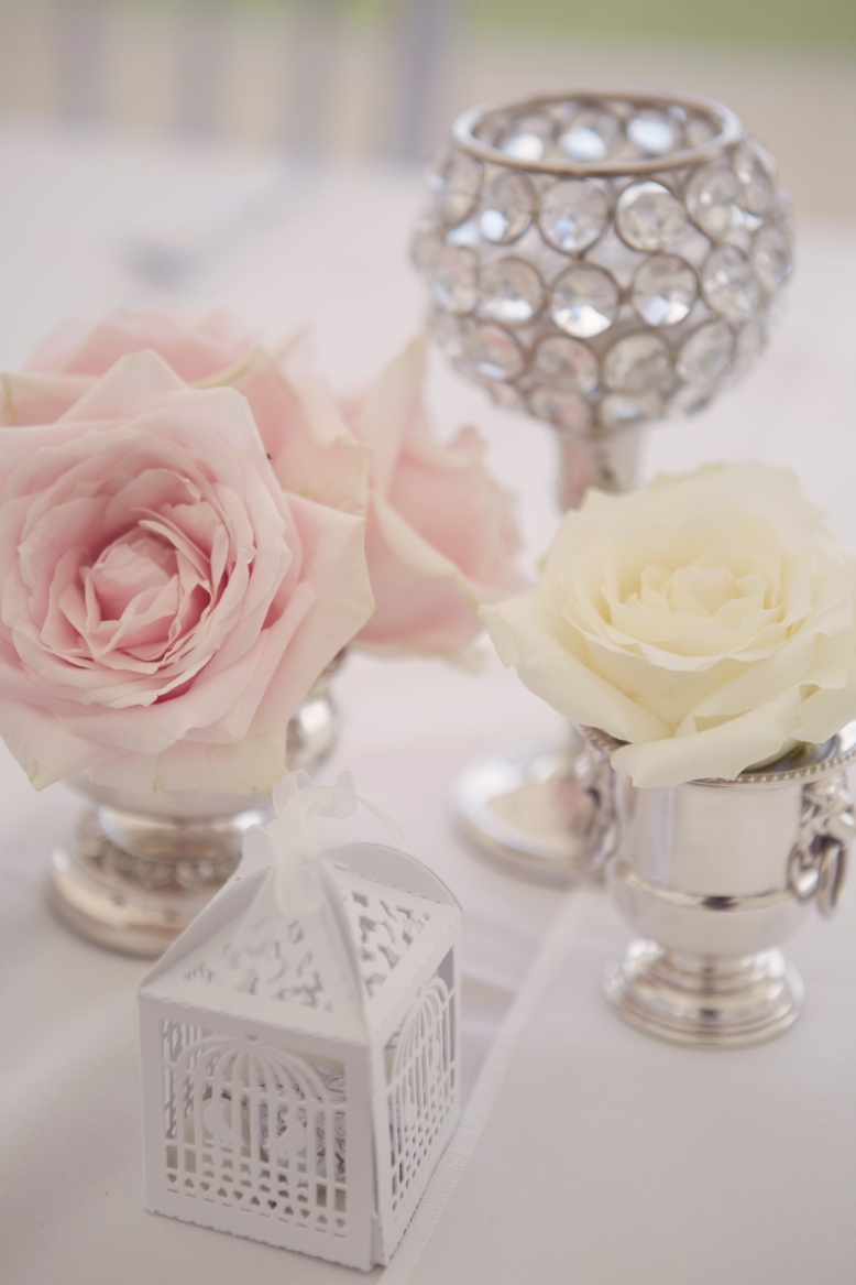 Silver goblets with pastel roses