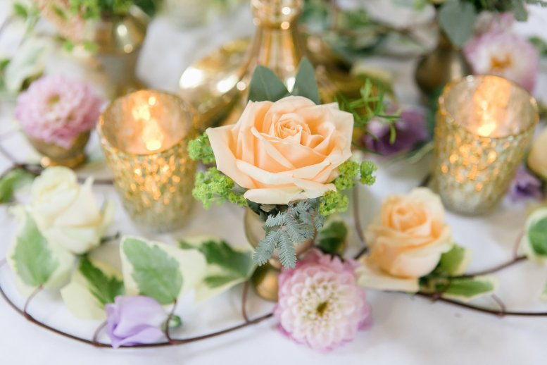Close up of flower vases with candlelight