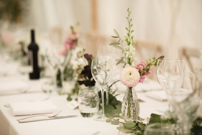 Dainty blooms for a banquet table
